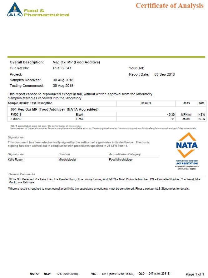 NATA Certificate of Analysis
